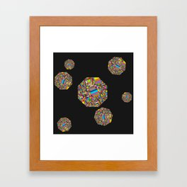 Pixelated Octagons Framed Art Print