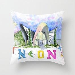 Neon Boneyard Las Vegas Throw Pillow