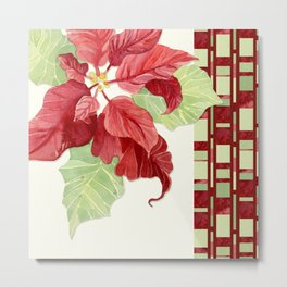 Elegant Single Poinsettia Modern Stripe Christmas Winter Holidays Metal Print