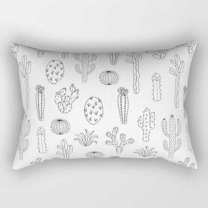 Cactus Silhouette Black Rectangular Pillow