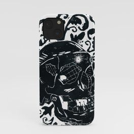 Black Lino Skull iPhone Case