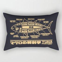 Tuna Anatomy Japanese Maguro Sushi - Black Sand Rectangular Pillow