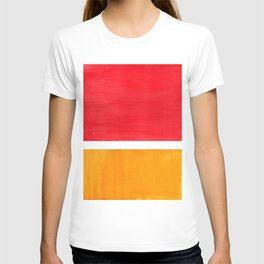 Colorful Bright Minimalist Rothko Color Field Midcentury Bright Red Yellow Squares Vintage Pop Art T-shirt