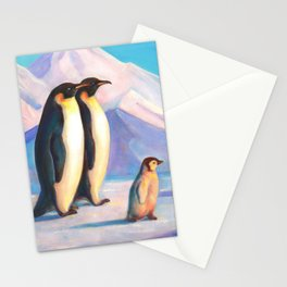 Happy Penguin Family Stationery Cards