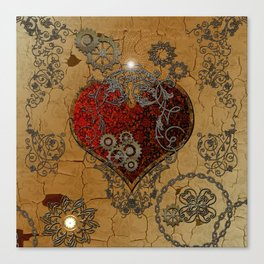 Steampunk, awesome heart Canvas Print