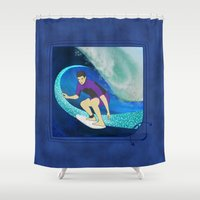 surfing Shower Curtains featuring Surfing  by Aquamarine Studio