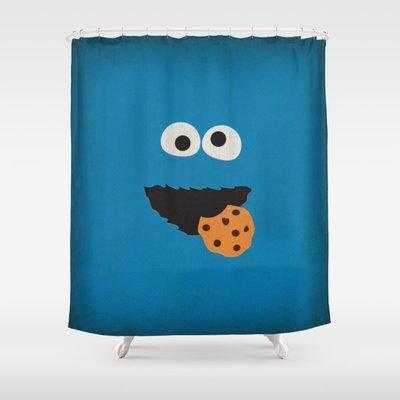 Sesame Street Vintage Nursery Art Cookie Monster Retro Style Minimalist Poster Print Shower Curtain