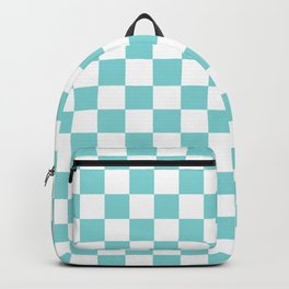 Gingham Pale Turquoise Checked Pattern Backpack