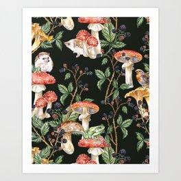 Hedgehogs & Blackberries, dark Art Print
