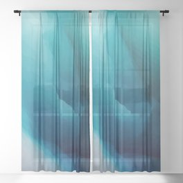 """""""Inner Calm"""" Turquoise Modern Contemporary Abstract Sheer Curtain"""