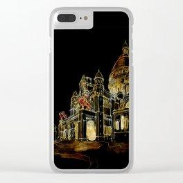 Paris Basilica Sacre Coeur at Night Clear iPhone Case