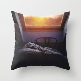 Sunset in bed Throw Pillow