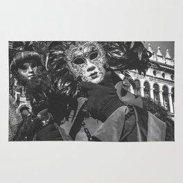 Black carnival mask in Venice Rug