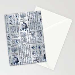 Egyptian hieroglyphs and deities abalone on pearl Stationery Cards