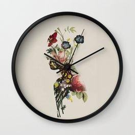 botanical woman. vintage style Wall Clock