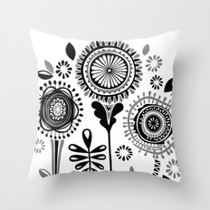 Folksy Flowerheads Throw Pillow