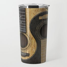 Aged Vintage Acoustic Guitars Yin Yang Travel Mug