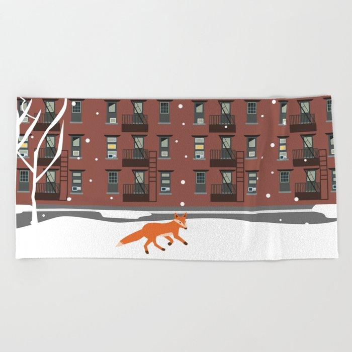 Winter in New York Beach Towel