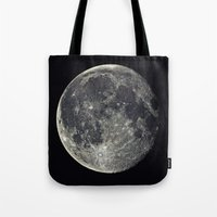 the moon Tote Bags featuring Moon by Pete Baker