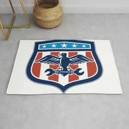 American Eagle Mechanic USA Flag Crest Rug