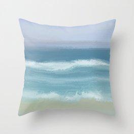 Seashore With Beautiful Breaking Waves Throw Pillow