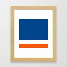 UNEVEN BRILLIANT BLUE DAZZLING WHITE COSMIC ORANGE STRIPED Framed Art Print
