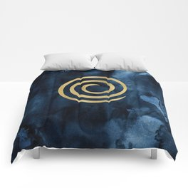 Infinity Navy Blue And Gold Abstract Modern Art Painting Comforters