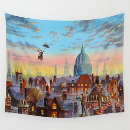Mary Poppins flying above the rooftops of London Wall Tapestry