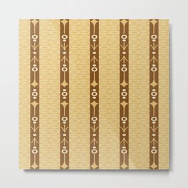 Tribal Arrows Geometric Circles in Golden Yellow and Tobacco Brown Metal Print