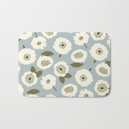 Floating Flowers Grey Bath Mat