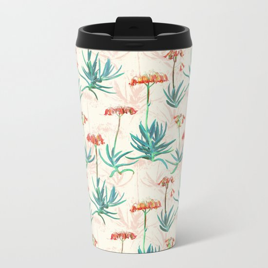 Flowering Succulent Pattern in Cream, Coral and Green Metal Travel Mug