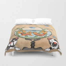 kittens by the fish bowl Duvet Cover