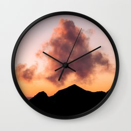Minimalist Cloud lit up by a Summer Sunset in the Mountains - Landscape Photography Wall Clock
