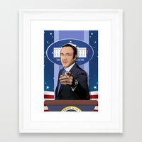 frank underwood Framed Art Prints featuring House of Cards: Frank Underwood USA President by Akyanyme
