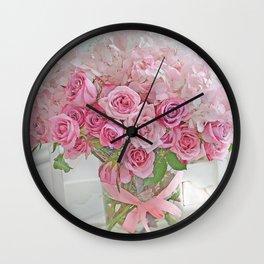 Pink Romantic Bouquet Roses Still Life Floral Prints Home Decor Wall Clock