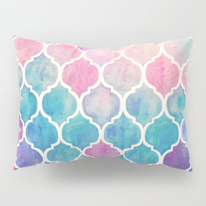 Rainbow Pastel Watercolor Moroccan Pattern Pillow Sham