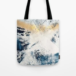 Sunset [1]: a bright, colorful abstract piece in blue, gold, and white by Alyssa Hamilton Art Tote Bag