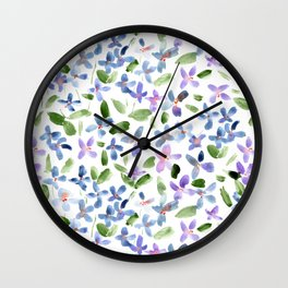 Lilac baby flowers - watercolor spring florals Wall Clock