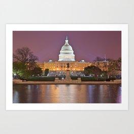 Glowing Washington DC Capitol Art Print