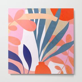 Jungle Love - Pink & Blue Metal Print
