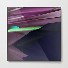 Strange psychedelic landscap with stylised mountains, sea and light blue Sun. Metal Print