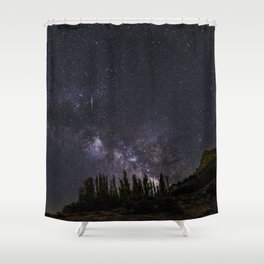 """""""Meteorite"""". Milky way at the mountains Shower Curtain"""
