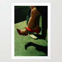 heels Art Prints featuring heels by katie g. jones /// wren papers