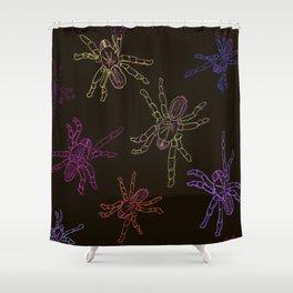 Technicolor Spiders, dark Shower Curtain