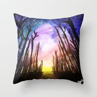 Throw Pillows featuring Twilight Woods by Syrose