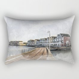 Rainbow Houses. Architectural watercolor and ink drawing Rectangular Pillow