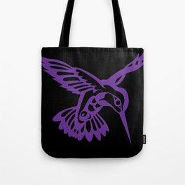 Hummingbird purple on black Tote Bag