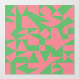 English Square (Pink & Green) Canvas Print