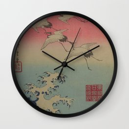 Japanese Ocean WAVE and CRANES Flying Wall Clock