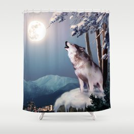 Lone wolf in the shadow of the city of Anchorage  Shower Curtain